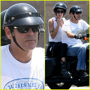 George Clooney & Elisabetta Canalis: Motorcycle Mates