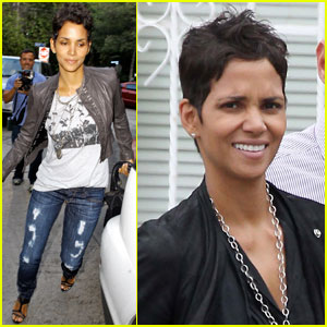 Halle Berry Jets Off in Jeans