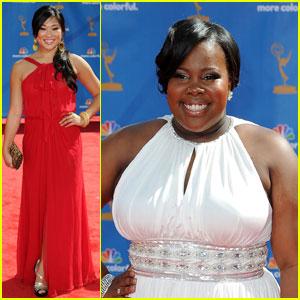 Amber Riley & Jenna Ushkowitz - Emmys 2010 Red Carpet