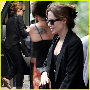 Angelina Jolie Jets Out of New Orleans