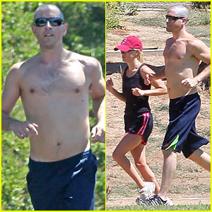 Shirtless Jim Toth Takes Reese Jogging