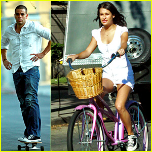 Lea Michele & Mark Salling: Biking and Boarding!