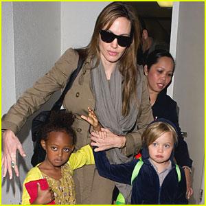 Angelina Jolie, Zahara & Shiloh: LAX Ladies