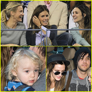 Cameron Diaz & Ashlee Simpson: US Open Tennis Fans!