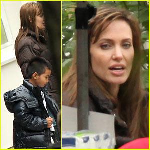 Maddox Visits Angelina Jolie on Budapest Set