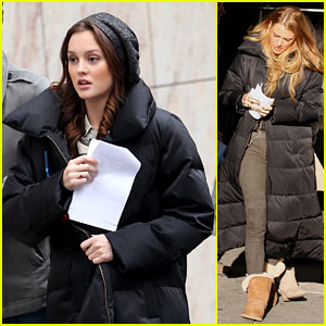 Blake Lively & Leighton Meester Bundle Up for 'Gossip Girl'