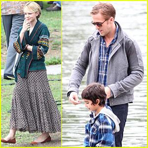 Carey Mulligan & Ryan Gosling Feed Ducks on 'Drive' Set