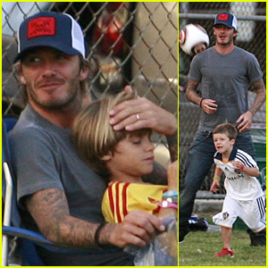 David Beckham Plays Soccer With His Sons