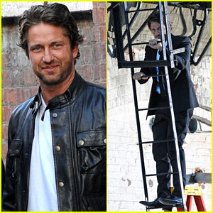 Gerard Butler Climbs The L'Oreal Ladder