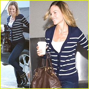 Hilary Swank: Smiles at Airport Security
