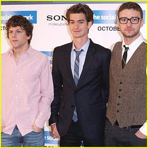 Justin Timberlake, Jesse Eisenberg & Andrew Garfield: London Lads