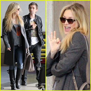 Kate Hudson & Matthew Bellamy: Rainy LAX Liftoff