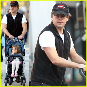 Matt Damon: East Village Stroll with Isabella