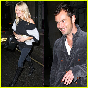 Jude Law & Sienna Miller Couple Up at Claridge's