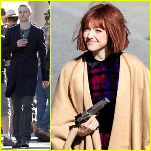 Justin Timberlake & Amanda Seyfried: Wigs & Guns for 'Now'