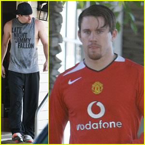 Channing Tatum: 'Jimmy Fallon' & Manchester Gym Clothes