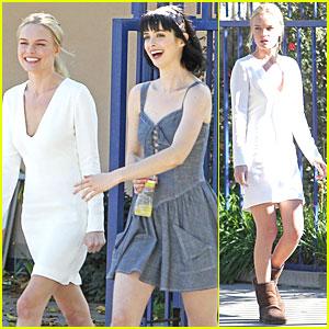 Kate Bosworth & Krysten Ritter Stroll to Set