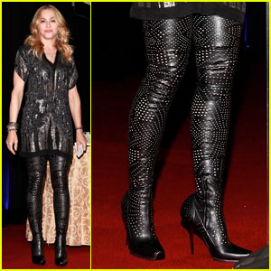 Madonna: Perforated Thigh-high Boots at Fashion Delivers Gala