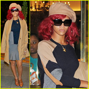 Rihanna: Beige Beret In Madrid