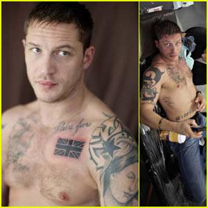 Tom Hardy: Union Jack Chest Tattoo