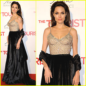 Angelina Jolie: 'Tourist' Madrid Premiere with Brad Pitt!