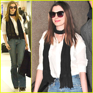 Anne Hathaway: LAX Landing with Adam Shulman!