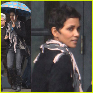 Halle Berry: Rainy Business Meeting