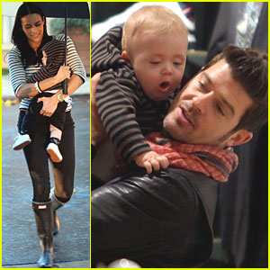 Robin Thicke Paula Patton Shopping With Julian Celebrity