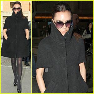 Victoria Beckham: High Cut Collar at LAX!