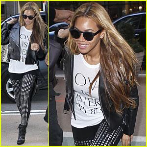 Beyonce Rocks Studded Leggings in NYC