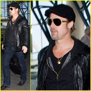 Brad Pitt: Leather Liftoff at LAX