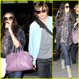 Demi Moore & Ashton Kutcher: En Route to Brazil!