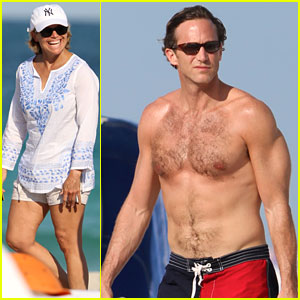 Katie Couric relaxes on the beach in a bikini with her shirtless boyfriend, ...