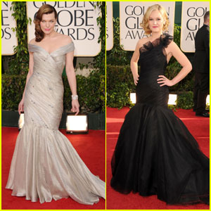 Milla Jovovich & Julia Stiles - Golden Globes 2011 Red Carpet