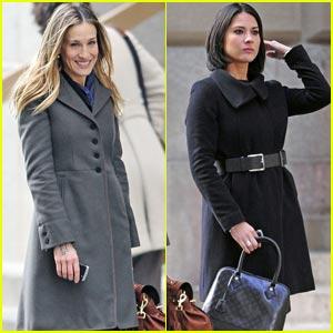 Sarah Jessica Parker & Olivia Munn: Filming on Wall Street