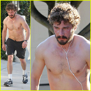 Shia LaBeouf: Scruffy Shirtless Run!