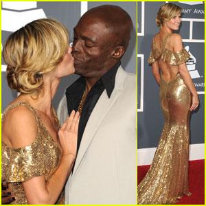 Heidi Klum & Seal: Grammys 2011 Red Carpet Kiss!