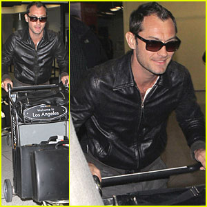 Jude Law: Leather Jacket at LAX