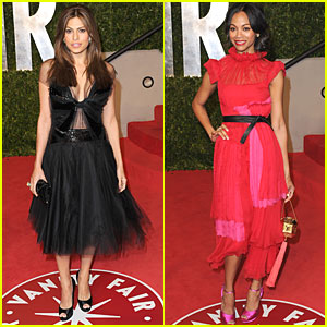 Eva Mendes & Zoe Saldana - Vanity Fair Oscar Party