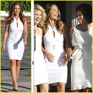 Minka Kelly Films 'Angels' with Annie Ilonzeh & Rachael Taylor