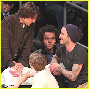 David Beckham & Tom Cruise: Laker Game Guys