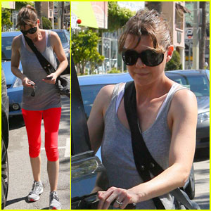Ellen Pompeo: Lady in Red Workout Pants