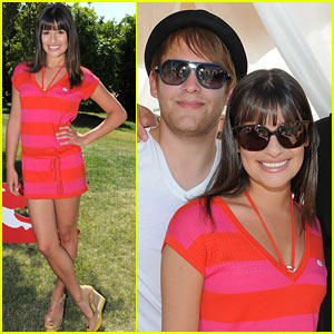 Lea Michele: Lacoste L!ve Pool Party with Theo Stockman!