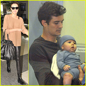 Miranda Kerr & Orlando Bloom Fly with Flynn