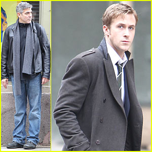 George Clooney & Ryan Gosling: Campaign Posters on Set!