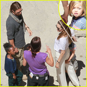 Shiloh & Zahara Jolie-Pitt: 'World War Z' Set Visit!