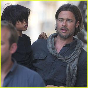 Brad Pitt: 'World War Z' Set with Pax!