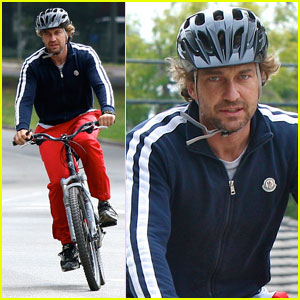 Gerard Butler Bikes with a Buddy