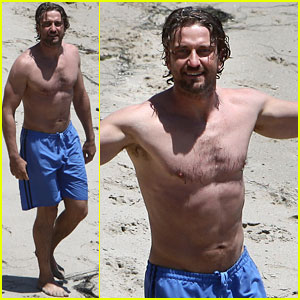 Gerard Butler: Shirtless Stroll with Mystery Gal!