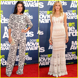 Jessica Szohr & Katie Cassidy - MTV Movie Awards 2011